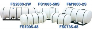 5 models of white Freestanding horizontal bulk storage tanks with hoops and on skids